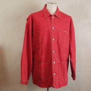 Vintage CORNICHE Red Denim Oversized Barn Coat